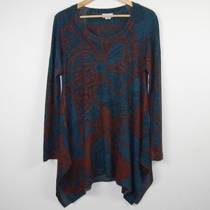 Soft Surroundings Sweater Tunic Floral Green Brown